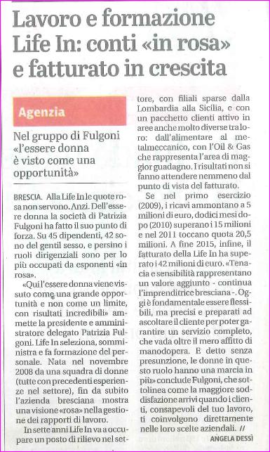 Articolo Brescia Oggi Life in